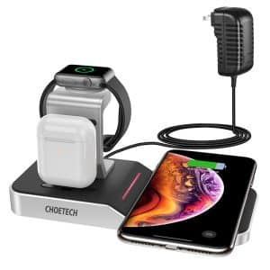 CHOETECH 4 in 1 Wireless Charging Dock MFi Certified Black