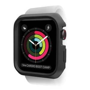ITSkins Spectrum Bumper Case for Apple Watch Series SE 6 5 4 44mm 2-Pack Black & Transparent