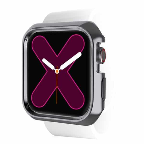 ITSkins Spectrum Metal Bumper Case for Apple Watch Series SE 6 5 4 44mm 2-Pack Space Gray & Transparent