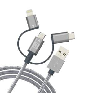 JUKU 3-In-1(Micro USB, Apple Lightning & USB-C) Charge & Sync Cable 1.2M Metallic Space Gray