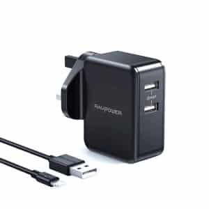 RAVPower 2-Pack 24W 2-Port USB Wall Charger with USB Lightning Cable Combo UK RP-PC119 Black