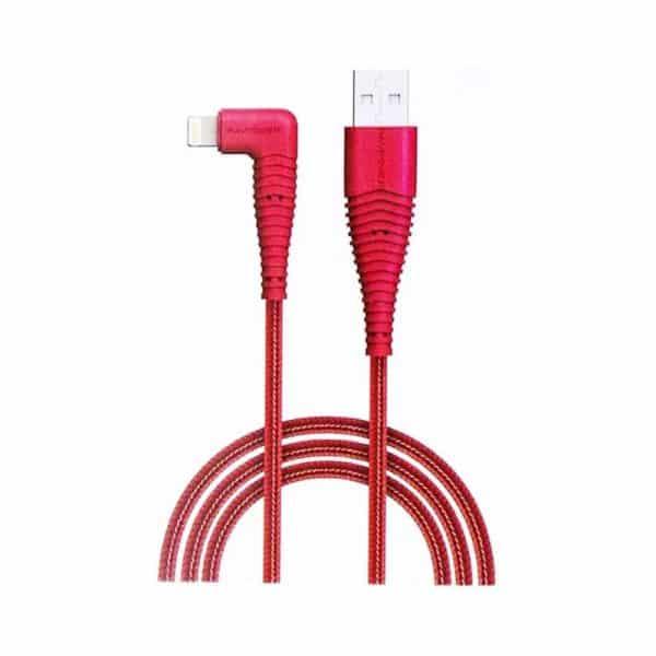 RAVPower Nylon Braided 90deg USB-A to Lightning Cable RP-CB013 0.9m 3ft Red