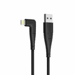 RAVPower Nylon Braided 90deg USB Cable with Lightning Connector RP-CB013 (0.9m/3ft) - Black