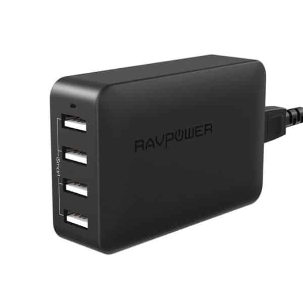 RAVPower 40W 4-Port USB Travel Wall Charger UK RP-PC023 Black