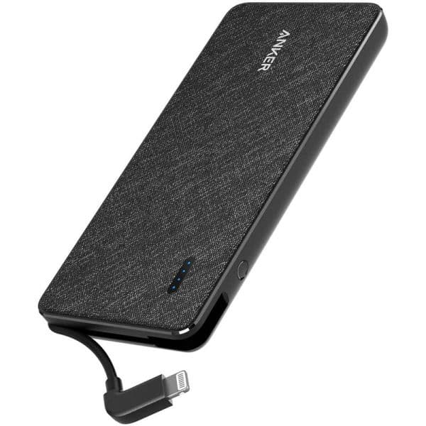 Anker PowerCore+ Metro 10,000mAh Portable Charger with Built-in Lightning Cable Black