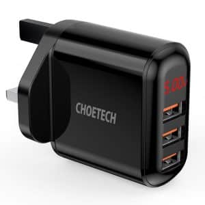 CHOETECH 3-Port USB Wall Charger with LED Display Black