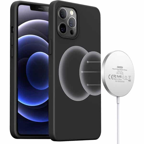 CHOETECH Magnetic Protection Silicone Phone Case for iPhone 12 & iPhone 12 Pro 6.1-Inch PC0095 Black