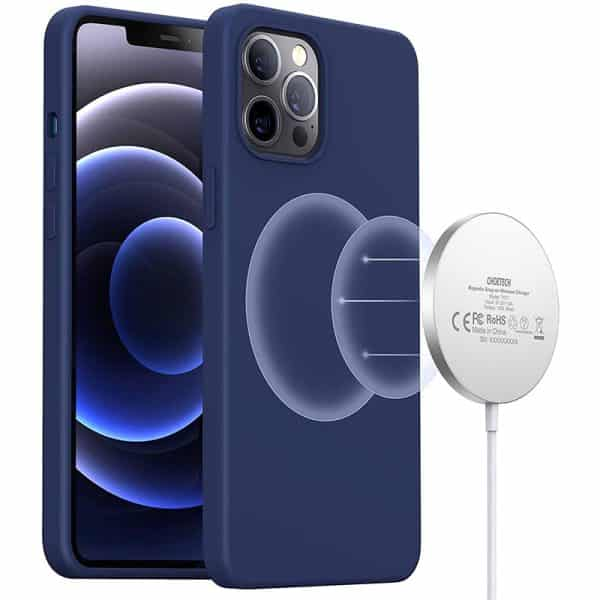 CHOETECH Magnetic Protection Silicone Phone Case for iPhone 12 & iPhone 12 Pro 6.1-Inch PC0095 Midnight Blue