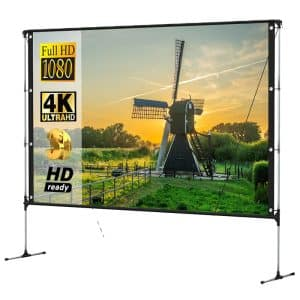 Salange Outdoor 100-Inch Projector Screen With Stand Ultra 16:9 HD 4K Portable Projector Screens