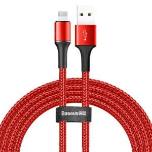 Baseus Halo Data Cable Durable Nylon Braided Wire Lightning USB with LED Light 1.5A 2m CALGH-C09 Red