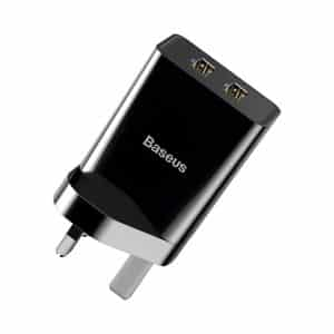 Baseus Speed Mini Dual USB Travel Charger 10.5W UK Wall Plug Black
