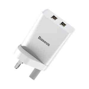 Baseus Speed Mini Dual USB Travel Charger 10.5W UK Wall Plug White