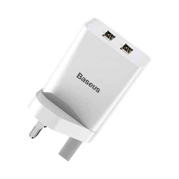 Baseus Speed Mini Dual USB Travel Charger 10.5W UK Wall Plug White