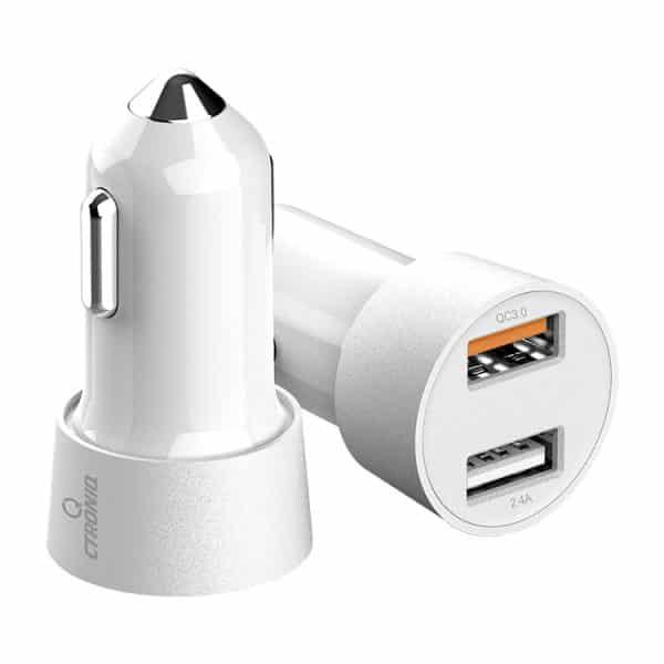 CTRONIQ Vimba CC12 Car Charger Quick Charge QC3.0 Dual USB Port LED Indicator White