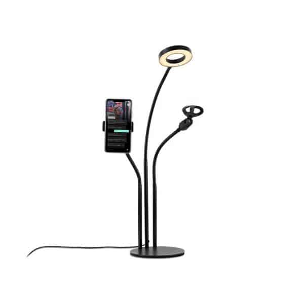 HAVIT HV-ST7011 3-in-1 Phone Stand with Microphone Clip and Ring Light For Live Streaming Adjustable Arm Desk Stand Black