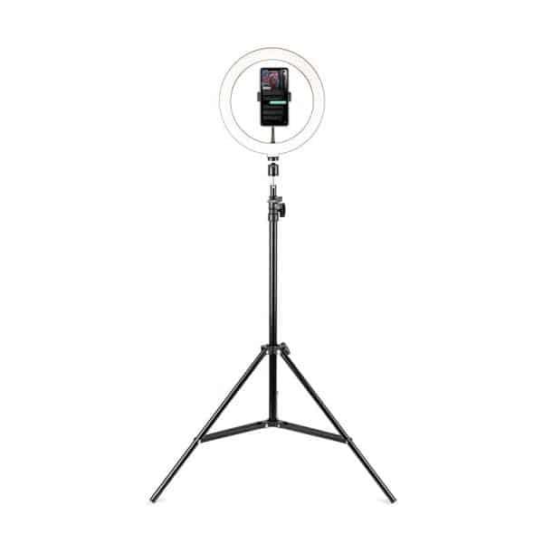 HAVIT HV-ST7112 Phone Tripod Stand with 8-Inch LED Ring Light - Black