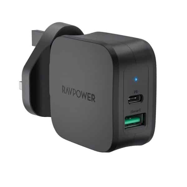 RAVPower PD Pioneer 30W 2-Port Wall Charger RP-PC144 UK Plug Black