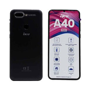 IKU A40 6.52-Inch 4G LTE Smart Phone 4GB+64GB with Free IP TV + Silicon Cover + Headset & Screen Protector Black