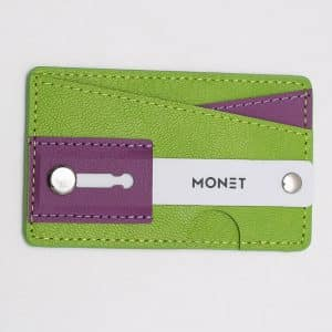 Monet Phone Grip with Expanding Stand and Slim Wallet - Green/Purple
