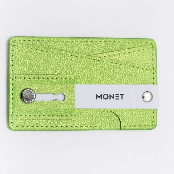 Monet Phone Grip with Expanding Stand and Slim Wallet - Light Green
