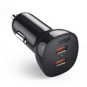 CHOETECH TC0008 PD 40W Dual USB-C Port Car Charger Black
