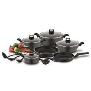 BLACK+DECKER 15-Piece Non-Stick Cookware Set Mat Black
