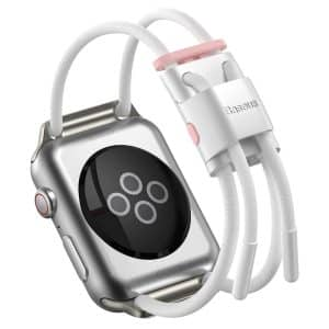 Baseus Let's Go Lockable Rope Strap for Apple Watch 42mm/44mm LBAPWA4-B24 - White/Pink