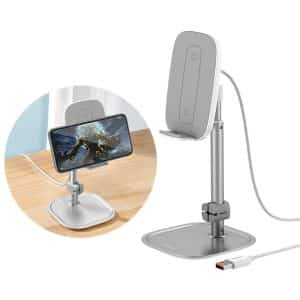 Baseus Telescopic Literary Youth Desktop Bracket Smartphone Holder with Wireless Charging SUWY-D0S Silver