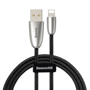 Baseus Torch Series Durable Nylon Braided USB to Lightning Cable 2.4A 1m with LED Lamp CALHJ-C01 Black