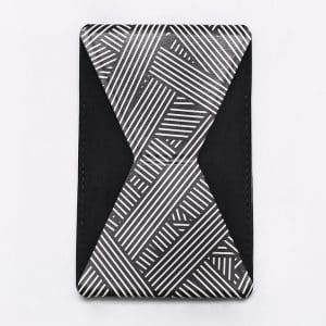 HDD Adhesive Phone Grip and Stand - Black/White Line Design
