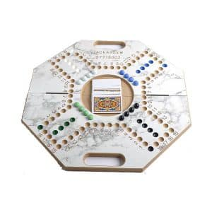 Jackaroo Board Game 4 Players with Foldable Eight Ribs Shape and Numbers - Marble White