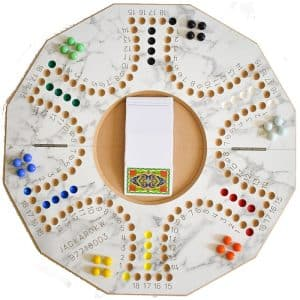 Jackaroo Board Game 6 Players with Foldable Circle Shape and Numbers - Marble White