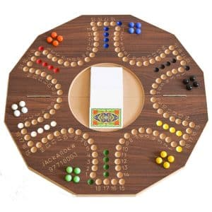 Jackaroo Board Game 6 Players with Foldable Circle Shape and Numbers - Brown