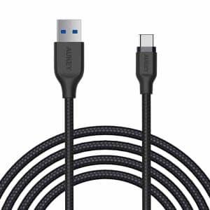 AUKEY Braided Nylon USB 3.1 Gen1 to USB-C Cable 2m/6.6ft CB-AC2 - Black