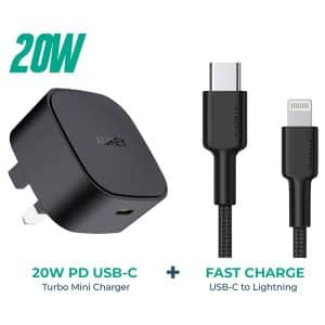 AUKEY Minima 20W PD USB-C Mini Charger PA-Y25 with Impulse MFI Braided Nylon USB-C To Lightning Cable 1.2M CB-CL1 Black