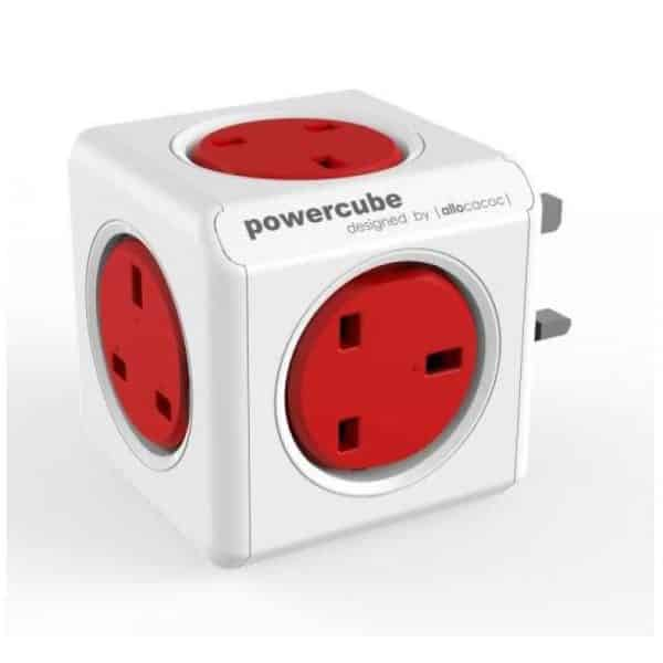 Allocacoc PowerCube Original 5 Power Outlets UK Red