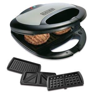 BLACK+DECKER 3 In 1 Multiplate Sandwich, Grill And Waffle Maker 750W TS2090 - Black/Silver