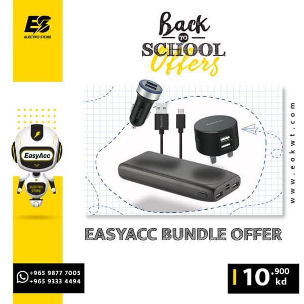 EasyAcc 20000mAh Powerbank + USB Charger + Car Charger + Micro USB Cable - Bundle Offer